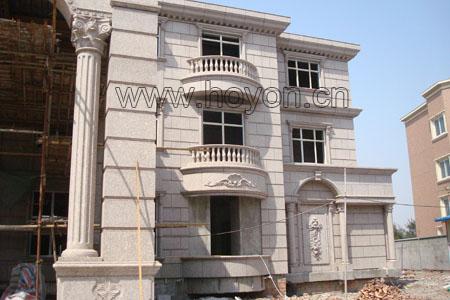 大理石外墙别墅图片大全 外墙大理石干挂基本完成的别墅